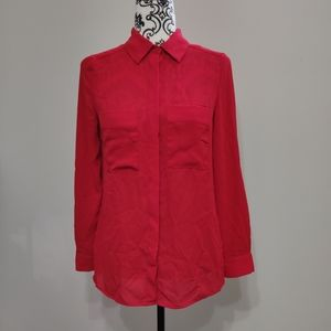 Le Chateau Red Semi Sheer Dress Shirt Blouse